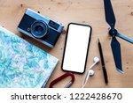 modern smartphone with travel... | Shutterstock . vector #1222428670