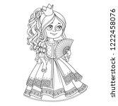 beautiful princess with a fan... | Shutterstock .eps vector #1222458076