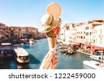 delicious icecream in beautiful ... | Shutterstock . vector #1222459000