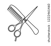 hair salon with scissors and... | Shutterstock .eps vector #1222461460