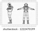 astronaut architect blueprint  | Shutterstock . vector #1222470199