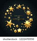black merry christmas and happy ... | Shutterstock .eps vector #1222470550