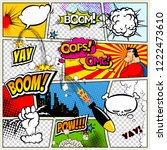 comic book page divided by... | Shutterstock .eps vector #1222473610