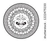 medusa gorgon head on a shield... | Shutterstock .eps vector #1222475233