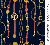 luxurious print with chains ... | Shutterstock .eps vector #1222477159