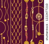 luxurious print with chains ... | Shutterstock .eps vector #1222477210
