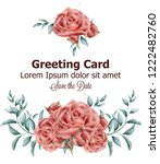 greeting card with roses... | Shutterstock .eps vector #1222482760