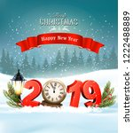 merry christmas background with ... | Shutterstock .eps vector #1222488889