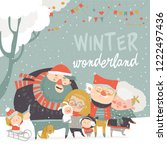 winter fun. happy family at... | Shutterstock .eps vector #1222497436