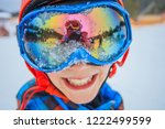 portrait of cute happy skier... | Shutterstock . vector #1222499599