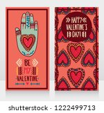 two cards for valentine's day... | Shutterstock .eps vector #1222499713