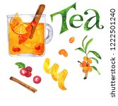 glass with herbal tea wth red... | Shutterstock . vector #1222501240