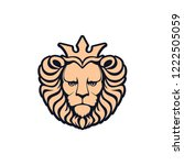 lion logo. lion head with crown ... | Shutterstock .eps vector #1222505059