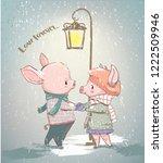 lovely couple of winter pigs   Shutterstock .eps vector #1222509946