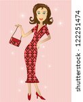 illustration of woman in retro... | Shutterstock . vector #122251474