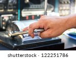 captain hand on throttle lever... | Shutterstock . vector #122251786