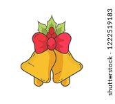 golden christmas bells with red ... | Shutterstock .eps vector #1222519183