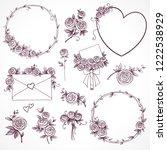 set of floral design elements.... | Shutterstock . vector #1222538929