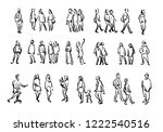people sketch. casual group of... | Shutterstock . vector #1222540516