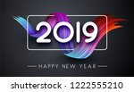 happy new year 2019 card with... | Shutterstock .eps vector #1222555210
