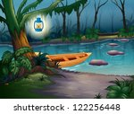 Illustration Of A Canoe In A...