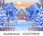 winter forest landscape with... | Shutterstock .eps vector #1222570933
