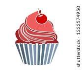 vector cupcake illustration.... | Shutterstock .eps vector #1222574950