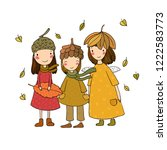 three small forest fairies.... | Shutterstock .eps vector #1222583773