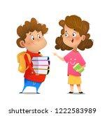 two multiracial children... | Shutterstock .eps vector #1222583989