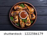 grilled chicken legs with...   Shutterstock . vector #1222586179