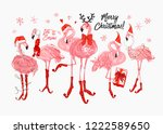 pink flamingo christmas and...   Shutterstock .eps vector #1222589650