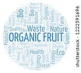 organic fruit word cloud. | Shutterstock . vector #1222591696