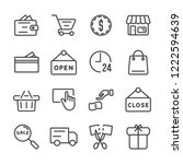 shopping icon set. black friday ... | Shutterstock .eps vector #1222594639