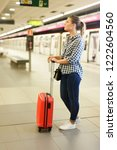 portrait of girl traveler... | Shutterstock . vector #1222604560