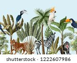 seamless border with tropical... | Shutterstock .eps vector #1222607986