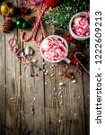 christmas dessert  homemade... | Shutterstock . vector #1222609213