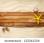 few marine items on a wooden... | Shutterstock . vector #122261224