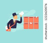 postman puts the letter in the... | Shutterstock .eps vector #1222620076