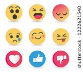 set of emoticon social media... | Shutterstock .eps vector #1222621540