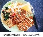 chicken steak. fried chicken.... | Shutterstock . vector #1222622896