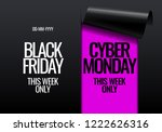 black friday and cyber monday... | Shutterstock .eps vector #1222626316