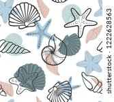 seashell seamless pattern.... | Shutterstock .eps vector #1222628563