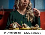 gorgeous female in restaurant... | Shutterstock . vector #1222630393