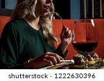 gorgeous female in restaurant... | Shutterstock . vector #1222630396