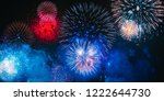 colorful fireworks explosion on ... | Shutterstock . vector #1222644730