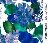 tropical watercolor seamless... | Shutterstock . vector #1222646860