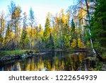 autumn forest river scene....   Shutterstock . vector #1222654939