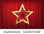 theatre red curtains with shiny ... | Shutterstock .eps vector #1222671460
