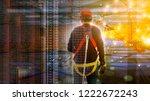 duble explosure of worker in... | Shutterstock . vector #1222672243