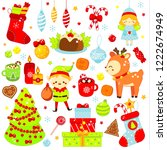 christmas stickers  icons. cute ... | Shutterstock .eps vector #1222674949